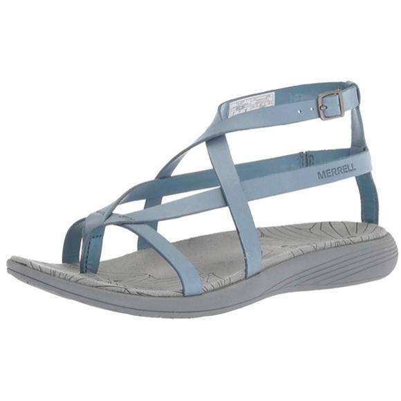 0dc6503dd873 Merrell Duskair Seaway leather sandal blue